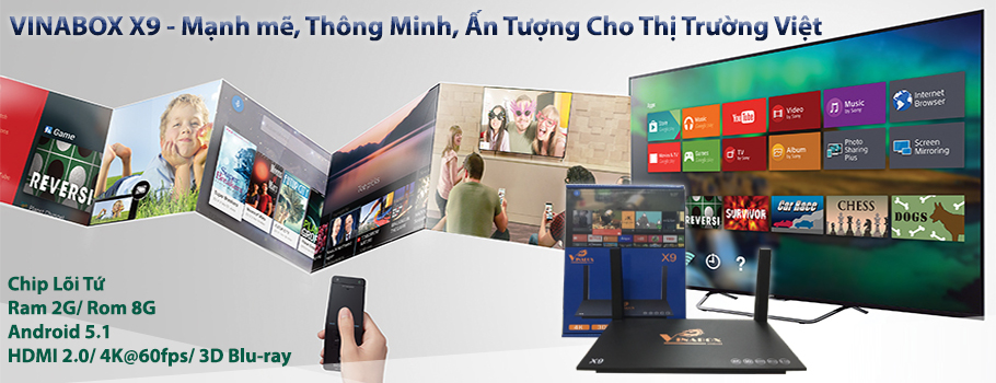 VINABOX X9 – RAM 2G, ANDROID 7 1 2 NOUGAT, HỖ TRỢ GOOGLE ASSISTANT